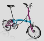 2017 Brompton M6L Lagoon Blue / Berry Krush Free Bag